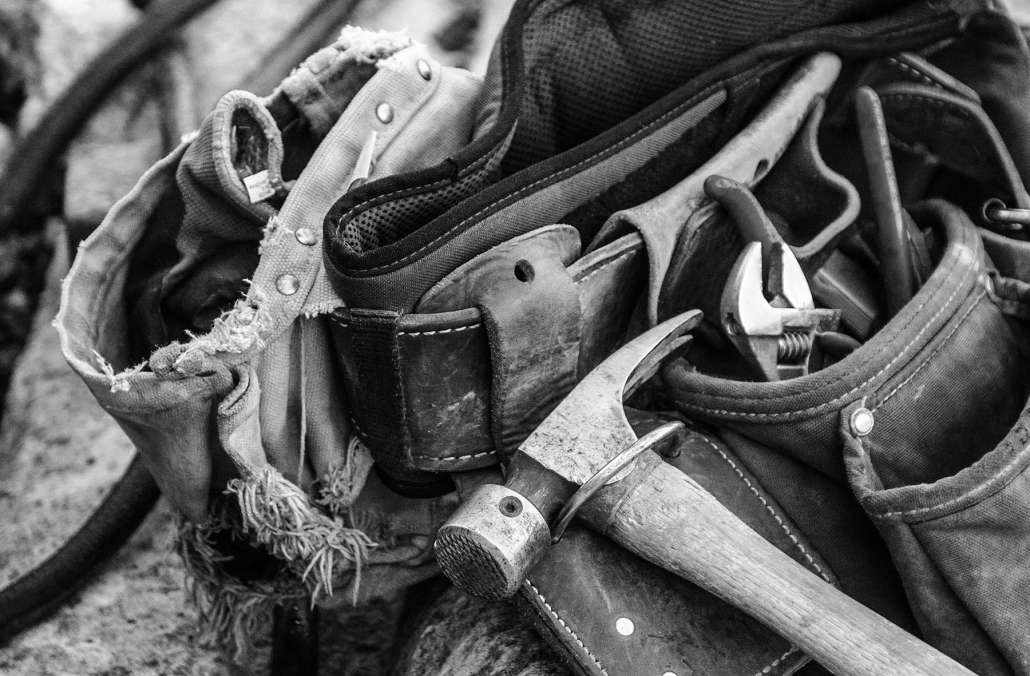 black and white image of tool belt